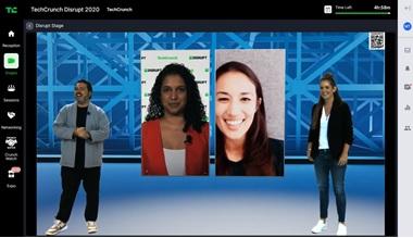 写真 キャニックス優勝発表の様子:画面中央右がキャニックスのステイシー・ロノウスキ最高経営責任者(ジェトロ撮影)